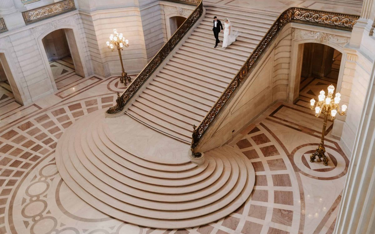 Walking down San Francisco City hall steps