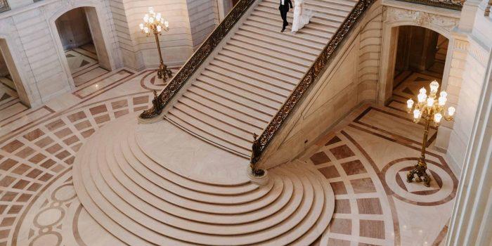 Walking down San Francisco City hall steps