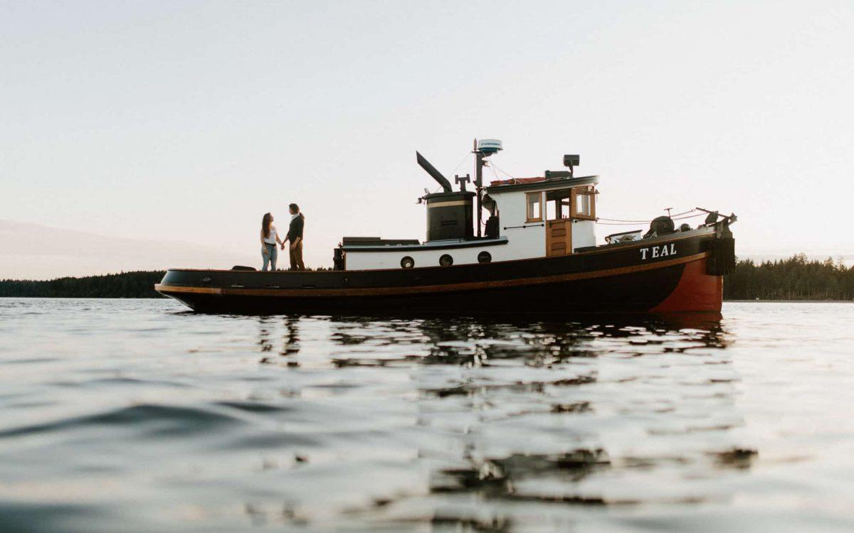 Tug Boat Engagement Session in Washington State // Liza + Casey