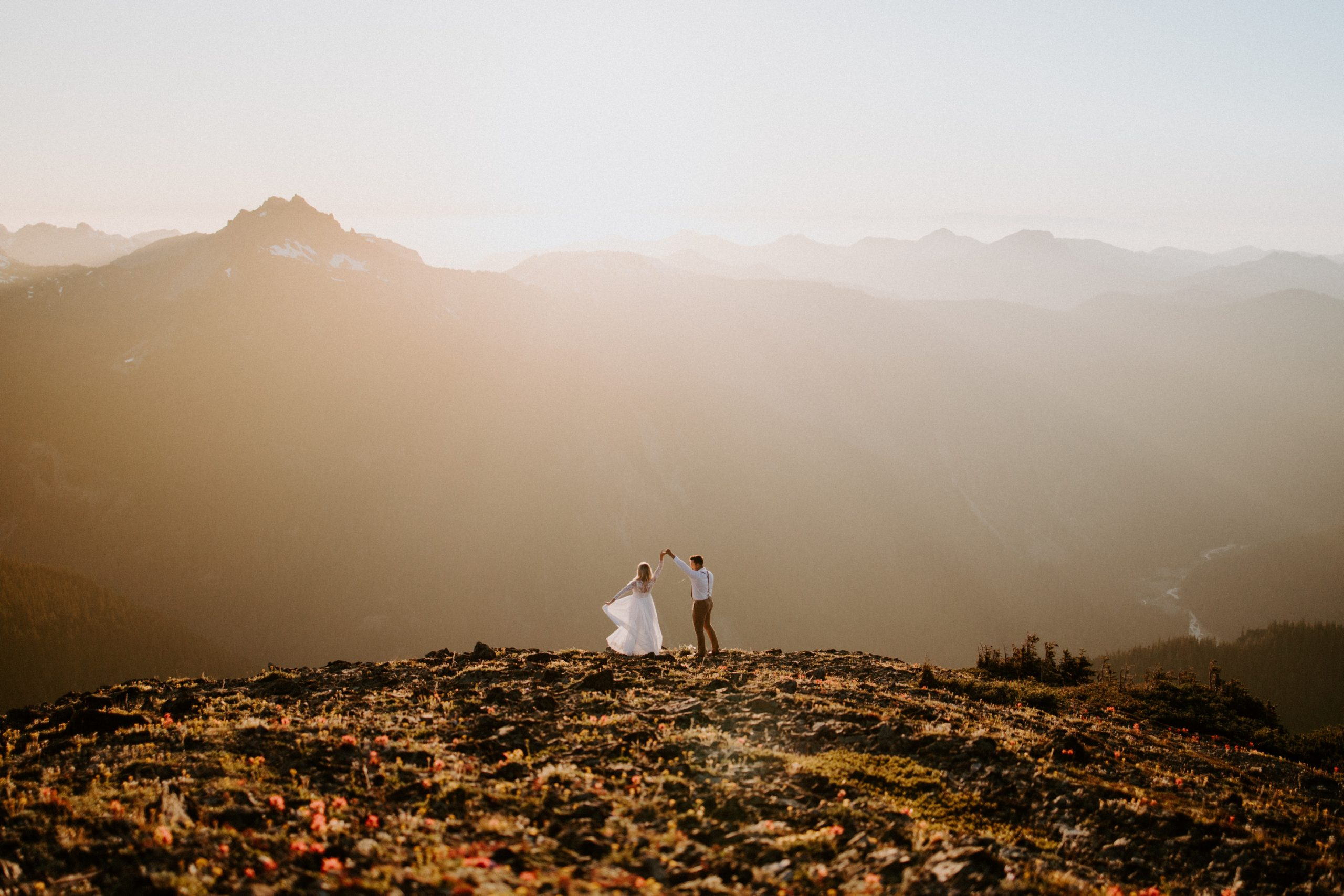 Couple Eloping on Mountain Top