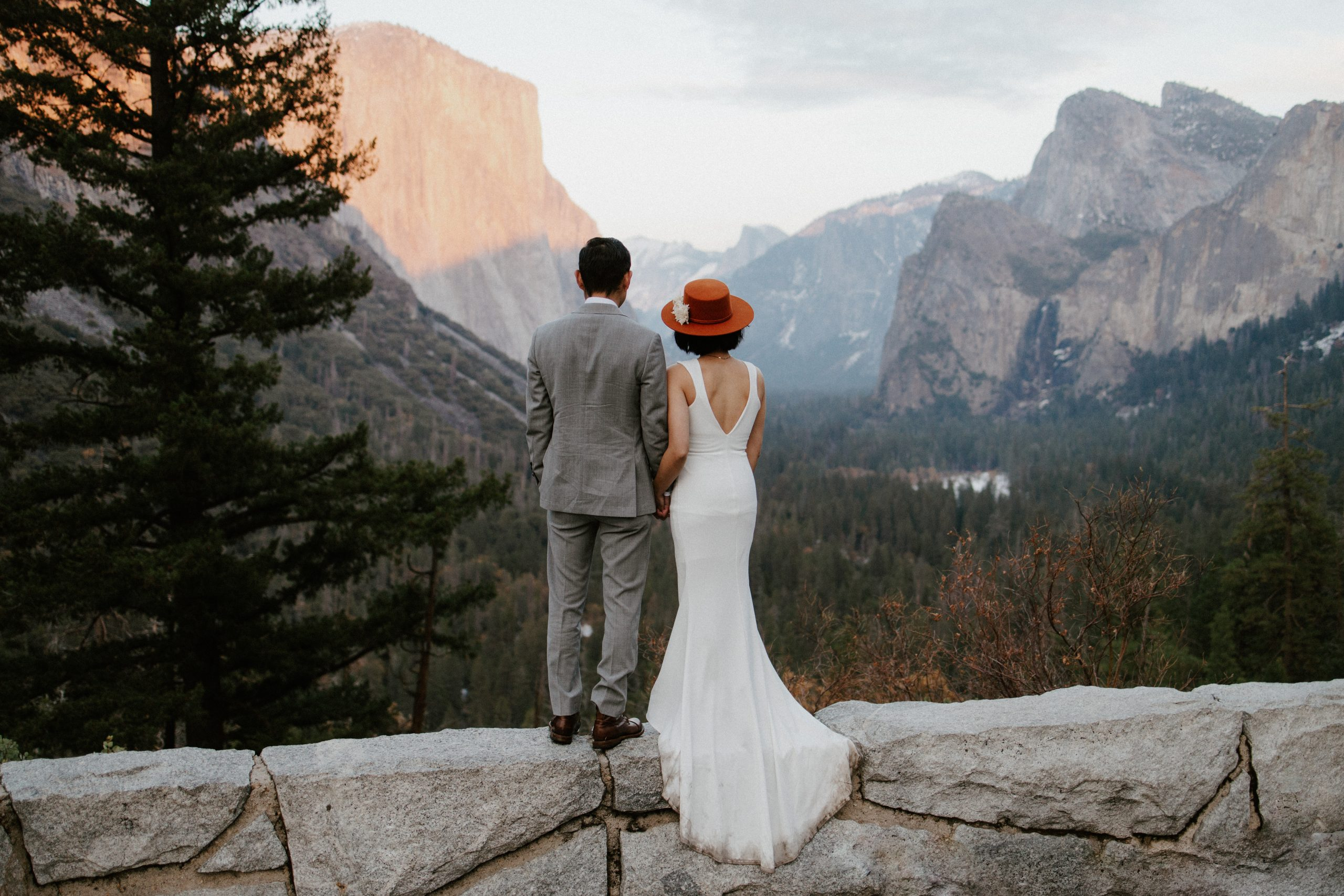 Looking out at the valley view in Yosemite National Park during an elopement
